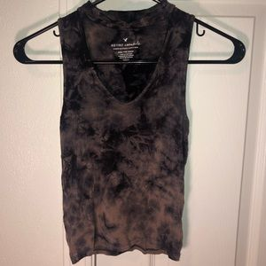 american eagle pink / purple / black tie dye tank